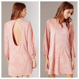 UO Blush Floral Metallic Pleated Open Back Dress